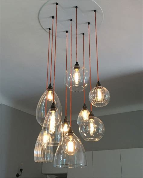 Handmade Lighting Uk - clear glass cluster globe pendant ceiling light the
