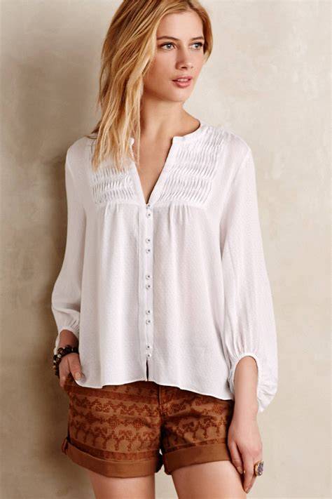 Blouse Peasant maeve pintuck peasant blouse in white lyst