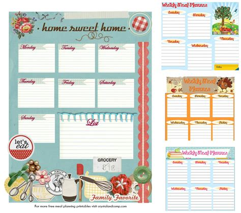 printable planner decorations free printable meal plans