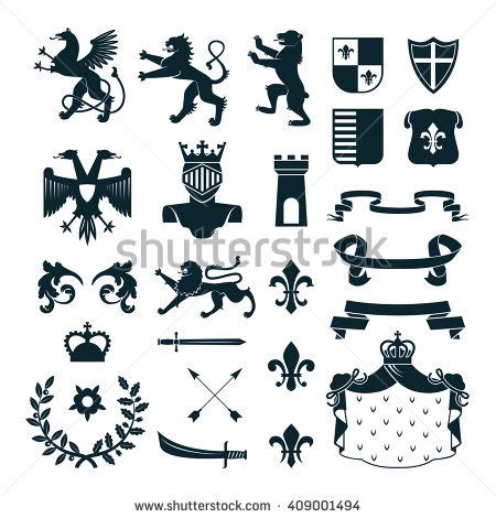 heraldic design elements vector heraldic royal symbols emblems design family stock vector