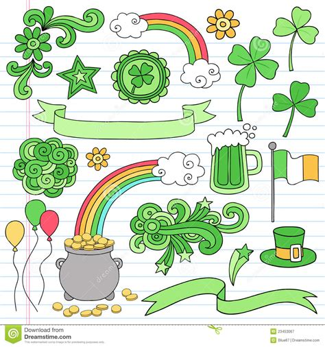 st patricks day notebook doodle icon set vector royalty