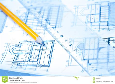 architectural and building engineering technology engineering and architecture drawings with pencil stock