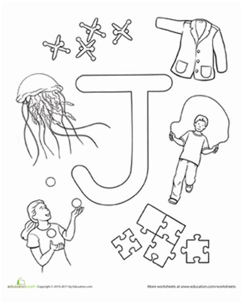 color that begins with j j is for worksheet education