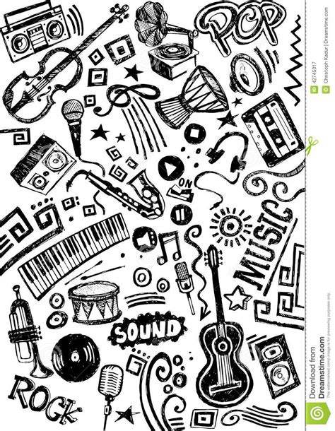 doodle less pool musicas instrument doodle stock illustration image 42745317