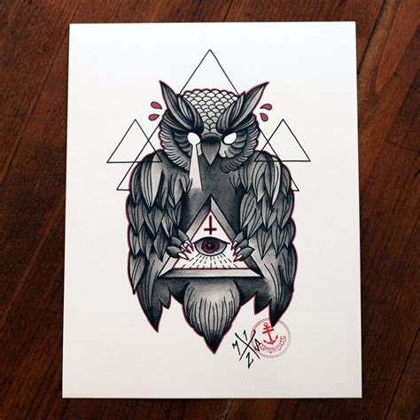 owl tattoo meaning illuminati illustration arte illustrations