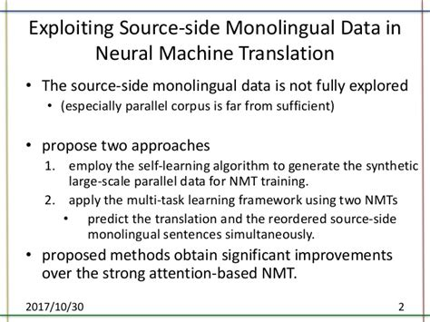 thesis about machine translation paper introducing exploiting source side monolingual data
