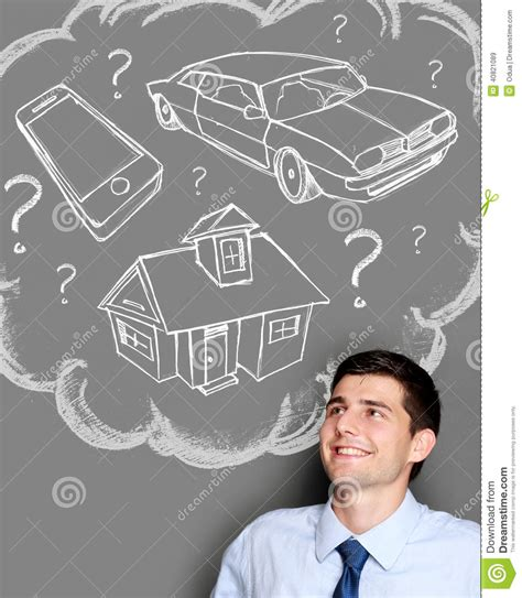 dream of buying a house business man dreaming of buying house car or gadget stock