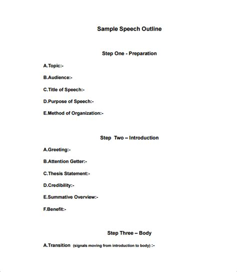 template for a speech sle speech outline template 9 free documents