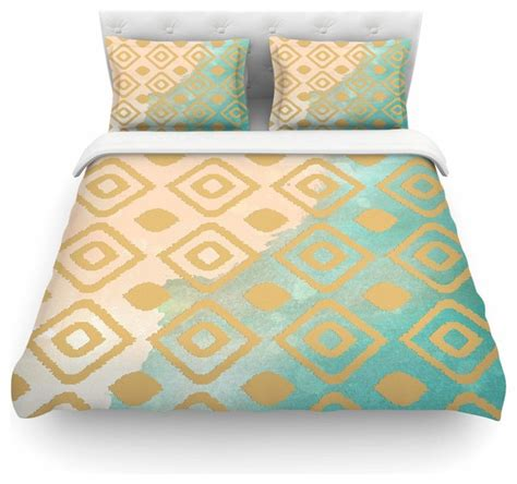 gold and teal bedding nika martinez quot watercolor ikat quot teal gold duvet cover