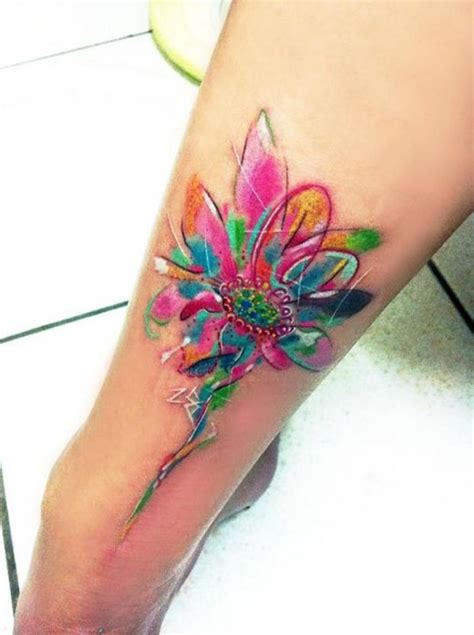 amazing watercolor flower tattoo pairodicetattoos com