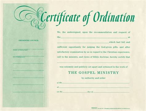 Free Blank Certificate Of Ordination   ordination for
