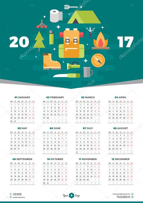 poster calendar template calendar design template for 2017 year week starts monday