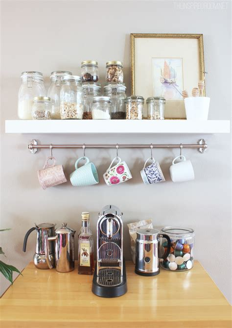 Kitchen Shelf With Mug Hooks Mug Rack Kitchen Coffee Station The Inspired Room