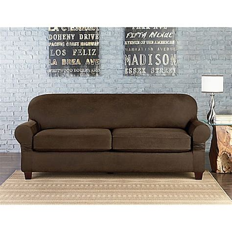 Faux Leather Sofa Covers Sure Fit 174 Vintage Faux Leather Individual Cushion 2 Seat Sofa Slipcover Bed Bath Beyond