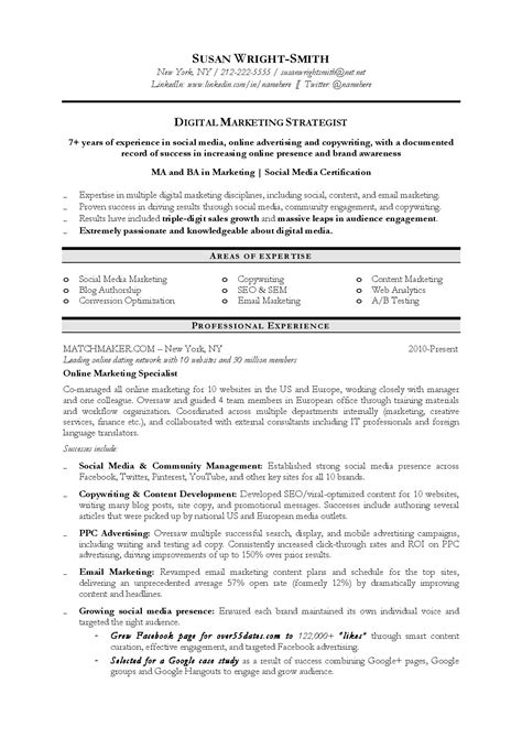 resume sle digital marketing 28 images explicative