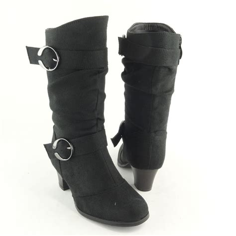 slouchy high heel boots s mid calf slouchy high heel boots faux suede black