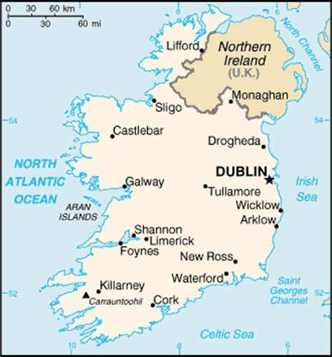 map of ireland with major cities educational geography information ireland