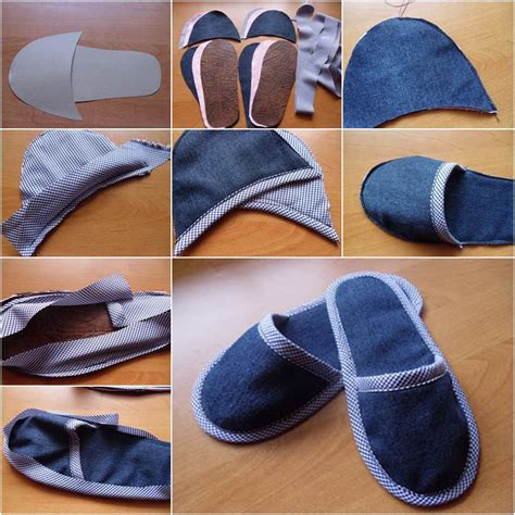 denim slippers how to diy simple denim home slippers