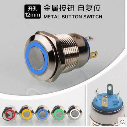 12mm Momentary Push Button Reset Green 12mm with led 3v 5v 12v 24v 220v metal button switch