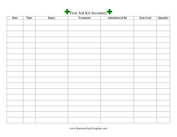 First Aid Inventory Template Aid Kit Checklist Template