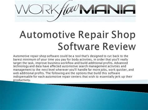 Automotive Repair Shop Software Review  authorSTREAM
