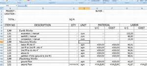 Cost Estimate Spreadsheet Template by Model Construction Cost Estimate Template Excel Format