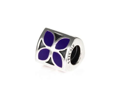 pandora silver purple enamel 4 petal flower charm 790437en02 greed jewellery