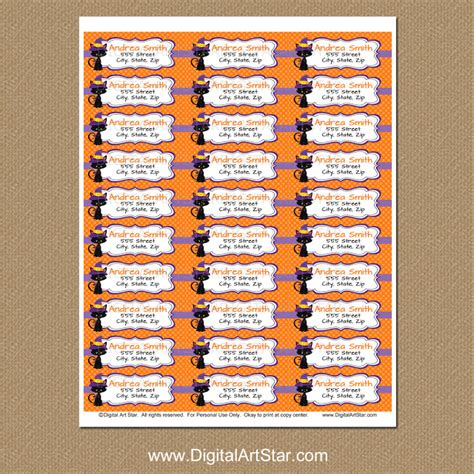 printable halloween address labels digital art star printable party decor new halloween