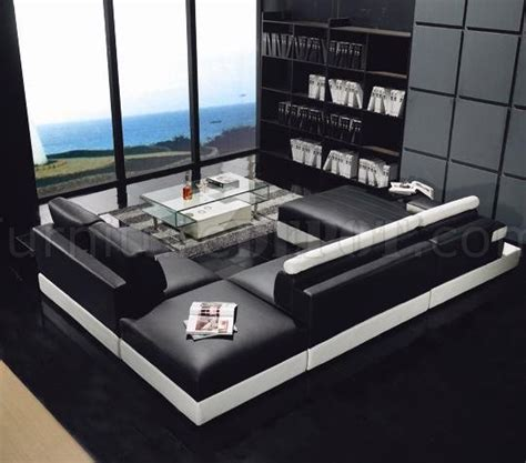 enez ultra modern contemporary black white leatherette ultra modern black leather sectional 187 ultra modern black