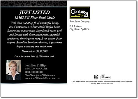 real estate postcard templates free real estate postcard century 21 just listed postcards