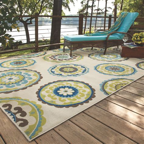 Outdoor Patio Area Rugs Bungalow Beige Green Indoor Outdoor Area Rug Reviews Wayfair