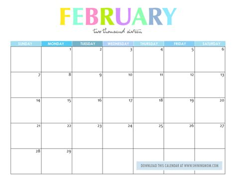 Feb 2016 Calendar Free Printable Your Lovely 2016 Calendars