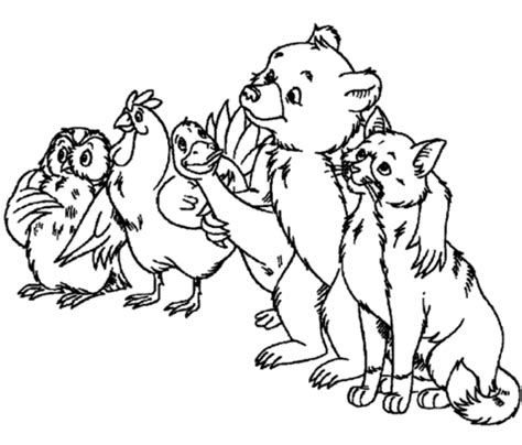 owl hen goose little bear and cat coloring page free