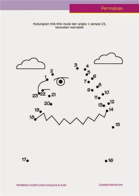 Gamis Anak Zahzel belajar paud urutan angka dengan lembar permainan dot to