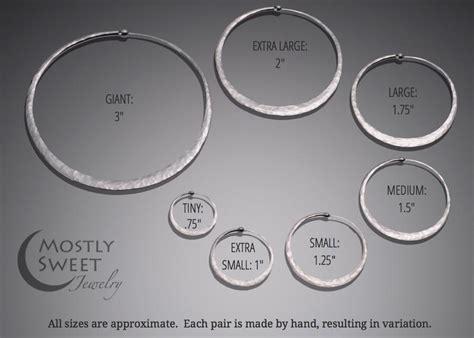 hoop earring size chart handmade hammered silver hoop