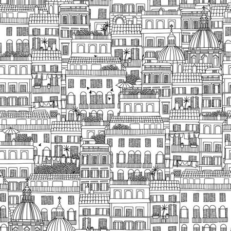 seamless pattern houses hand drawn seamless pattern of italian style houses stock