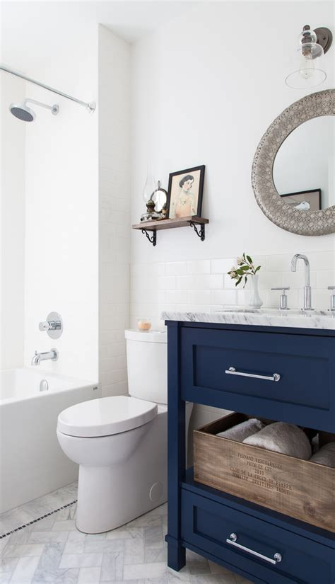 navy and white bathroom how to place vanities in small bathroom hupehome