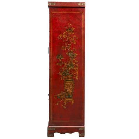 oriental armoire red leather hand painted oriental jewelry armoire