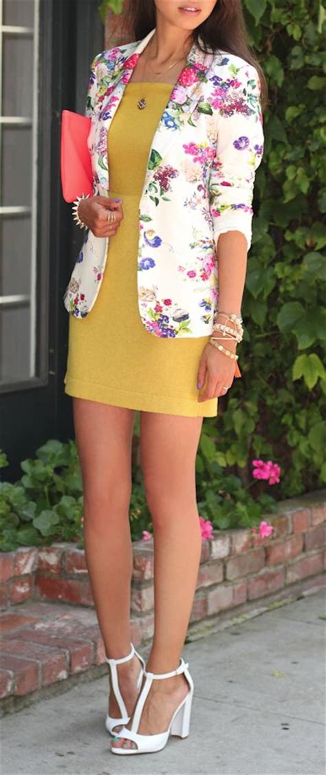 Dress Floral White Blazer picture of a yellow mini dress a bold floral blazer and white heels