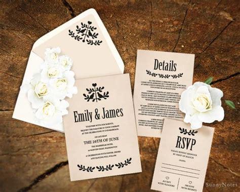 wedding card diy template editable rustic wedding invitation template printable