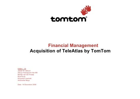 Mba Acquisition by Mba Tomtom Merger Teleatlas