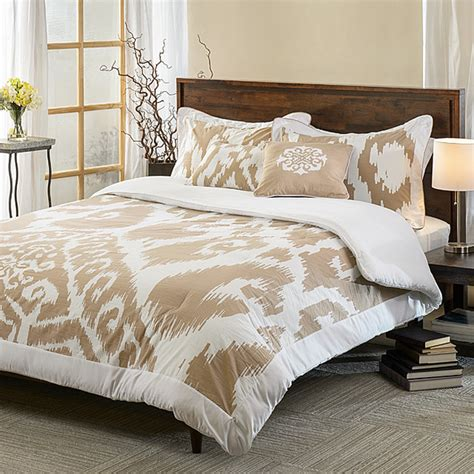 contemporary comforter sets ubezek tan and white cotton reversible 5 piece comforter