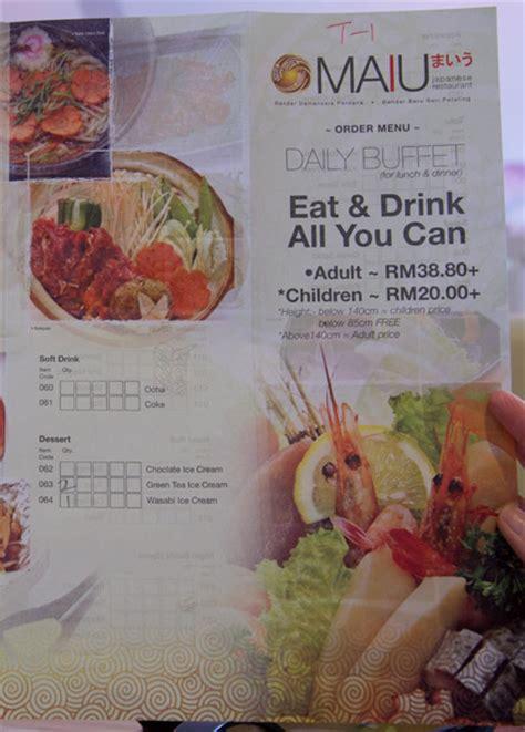 menu design johor bahru maiu japanese restaurant s tr 232 s affordable japanese buffet