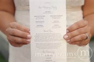 simple wedding programs exles wedding programs single sided flat programs by