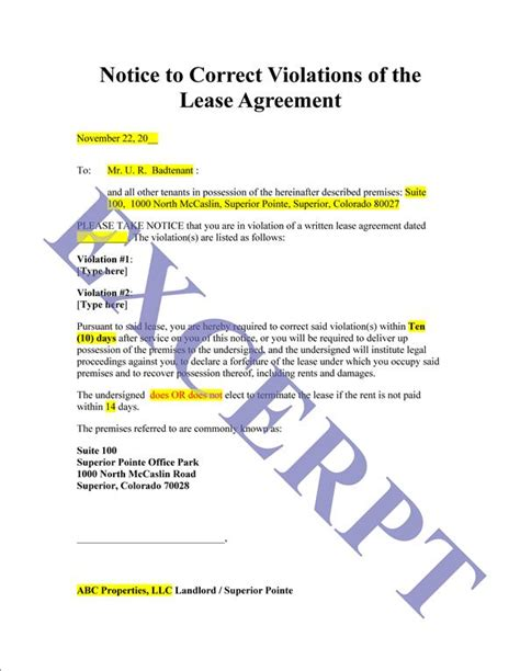 Notice To Correct Violation Of Lease: REALCREFORMS