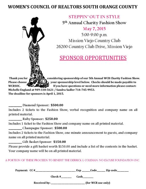 Letter Sle For Sponsorship Wcrsoc 5th Annual Fashion Show Oc Lifestyle Oc Lifestyle