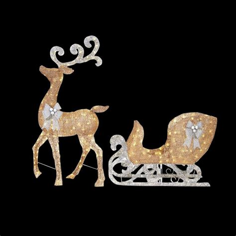 pvc lighted reindeer with sleigh home accents 65 in led lighted gold reindeer and 46 in led lighted gold sleigh with