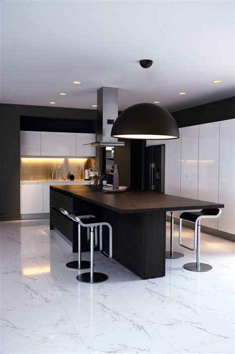 black white kitchen island breakfast table baan citta in bangkok thailand by the xss