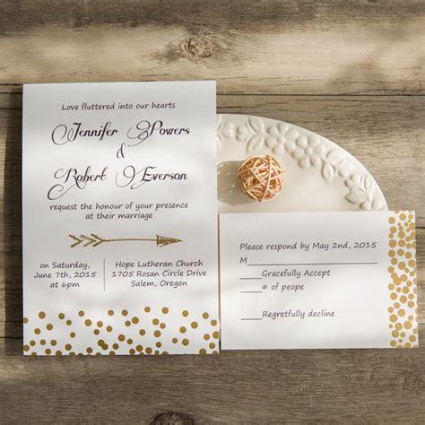 foil pressed wedding invites cupid s arrow polka dot foil pressed wedding invitations
