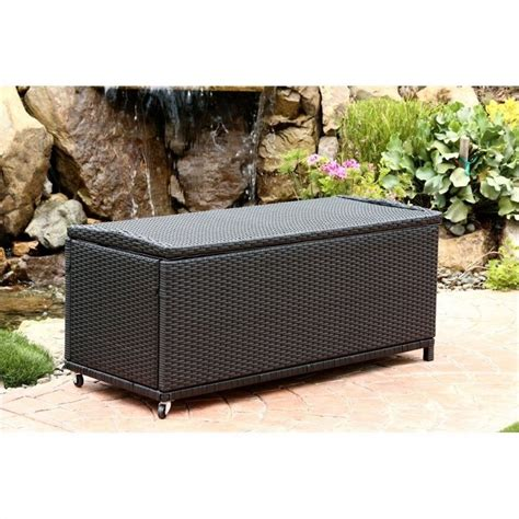 Outdoor Wicker Storage Ottoman Pasadena Outdoor Wicker Storage Ottoman In Black Dl Rsf006